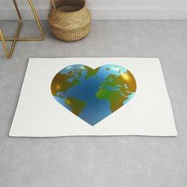 Globe in the shape of heart Rug