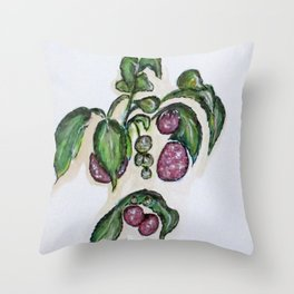 Hanging Raspberries Throw Pillow