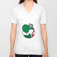 yoshi V-neck T-shirts featuring Yoshi by pondlifeforme