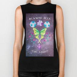 Always Seek the Light - Luna Moth Moon Crystals Boho Watercolor Biker Tank