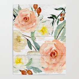 Watercolor Flowers on Rustic Wood Poster