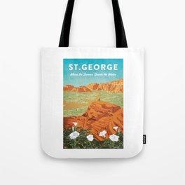 St George, Utah - Vintage Style Travel Poster Tote Bag