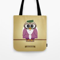dumbledore Tote Bags featuring Owlbus Dumbledore by Famous Owls