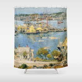 Classical Masterpiece 'Gloucester Harbor Landscape' by Frederick Childe Hassam Shower Curtain