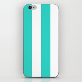 Wide Vertical Stripes - White and Turquoise iPhone Skin