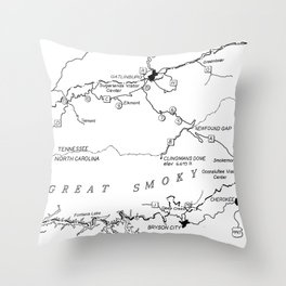 Map of The Great Smoky Mountains National Park (1996) Throw Pillow