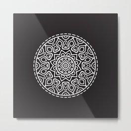 mandala black Metal Print