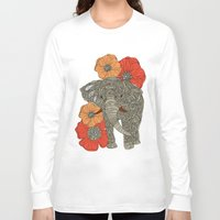 animals Long Sleeve T-shirts featuring The Elephant by Valentina Harper