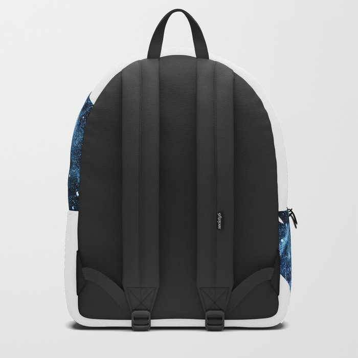 Howling Wolf blue sparkly smoke silhouette Backpack