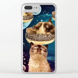 Galaxy Donuts Cats Clear iPhone Case