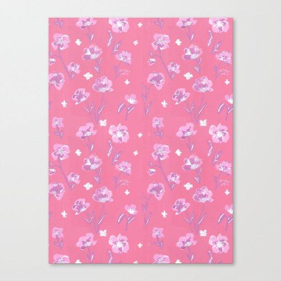 Pink Gouache Flora Pattern Canvas Print