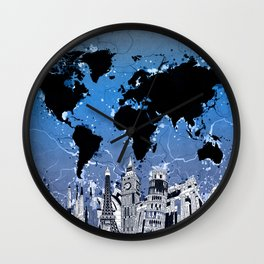 world map city skyline 8 Wall Clock