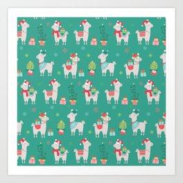 Christmas llamas III Art Print