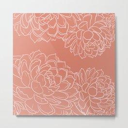 Suculentas flowers line art burnt coral & blush _vector drawing Metal Print
