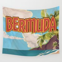 travel poster Wall Tapestries featuring BERMUDA vintage vacation travel poster by Nick's Emporium Gallery