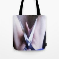 edward scissorhands Tote Bags featuring EDWARD SCISSORHANDS by TARA SCHLAYER