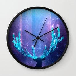 Greenery Deer - Sterling Magenta Wall Clock