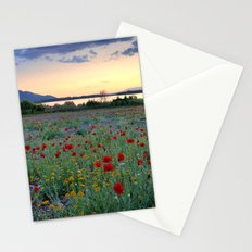 Red Poppies. Sunset at the lake Stationery Cards