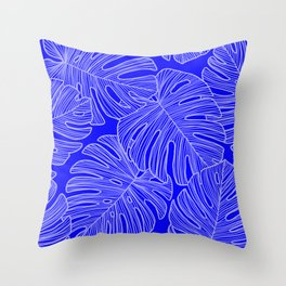 Cobalt Monstera Leaves Throw Pillow