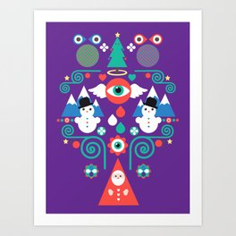 Christmas - purple pop Art Print