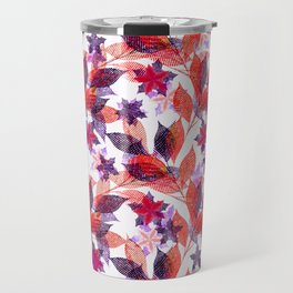 Red, or purple flowers and branches on a white background. Travel Mug