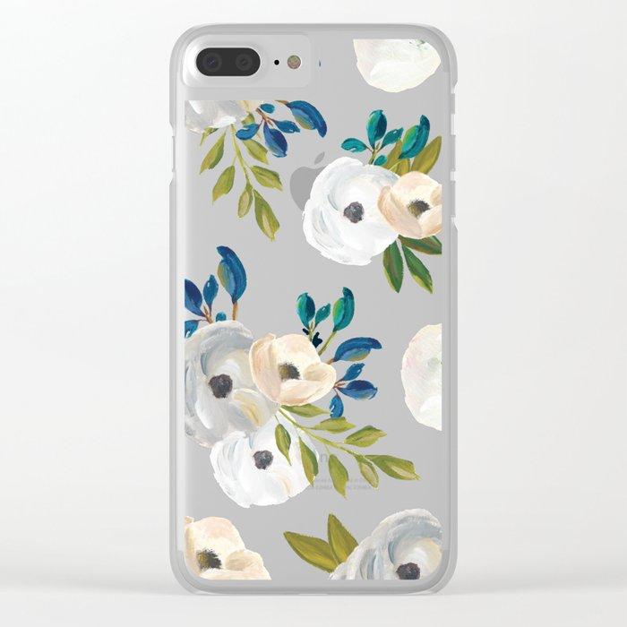 Midnight Florals - Blue & Cream Clear iPhone Case