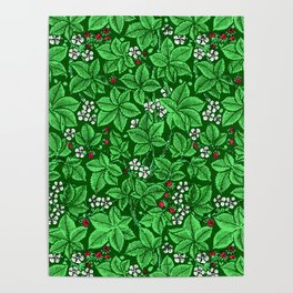 Art Nouveau Strawberries and Leaves, Emerald Green Poster