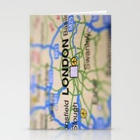 london map Stationery Cards featuring London Map by Brian Raggatt