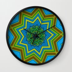 Lovely Healing Mandalas in Brilliant Colors: Blue, Yellow, Gold, and Green Wall Clock