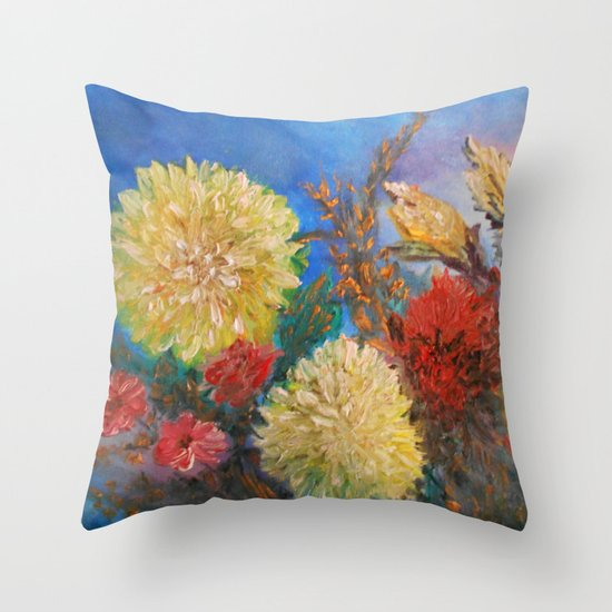 Modern Vintage Pillows : Modern Vintage Yellow Flowers Throw Pillow by RokinRonda Society6