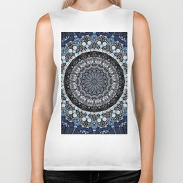 Dark Blue Grey Mandala Design Biker Tank