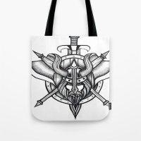 viking Tote Bags featuring Viking by Liz Guhl @lizaguhl