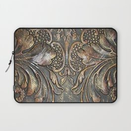 Golden Brown Carved Tooled Leather Laptop Sleeve