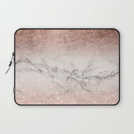 Modern faux rose gold glitter and foil ombre gradient on white marble color block Laptop Sleeve