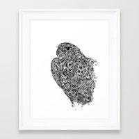 hawk Framed Art Prints featuring Hawk by kayse wieneke