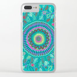 leafy Turquoise Mandala Clear iPhone Case
