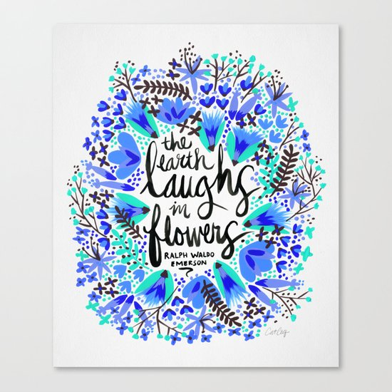 The Earth Laughs in Flowers – Turquoise & Blue Canvas Print