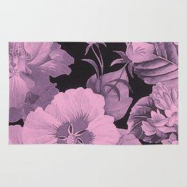 Pink florals on dark background vintage pattern Rug