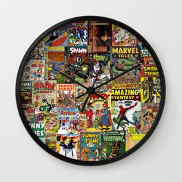 Comic Book Cover Collage Wall Clock