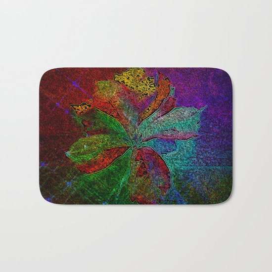 Abstract fall leaves in multicolor palette  Bath Mat