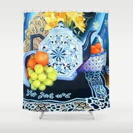 Blue Teapot and Lace Oil Painting Still Life Shower Curtain