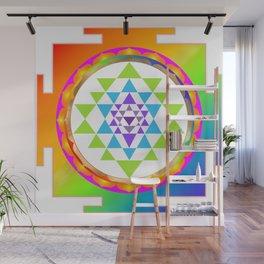 Sri Yantra, Chakra Colors, Faux Gold Accent Wall Mural