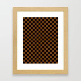 Black and Chocolate Brown Checkerboard Framed Art Print