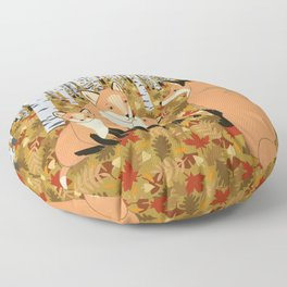 Fox family in the autumn forest Floor Pillow