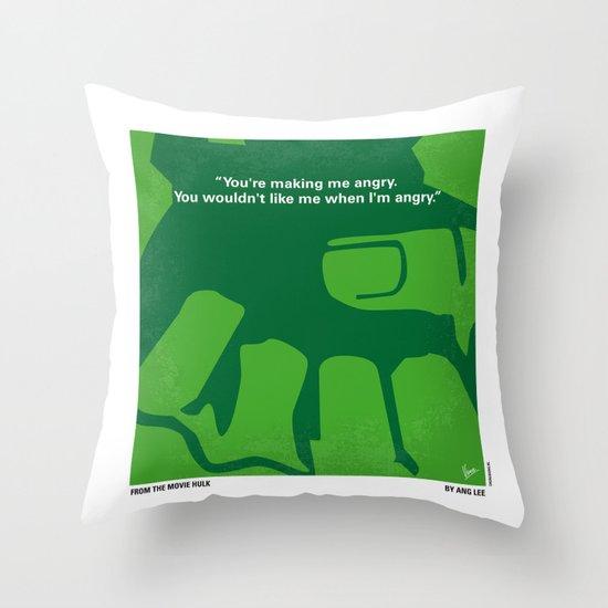 No040 My HULK minimal movie poster Throw Pillow