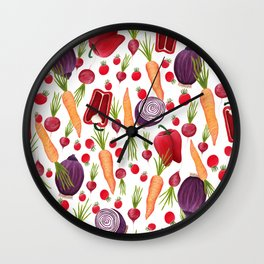 Farmers Market Vegetables Wall Clock