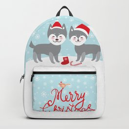 Merry Christmas New Year's card design funny gray husky dog in red hat, Kawaii face with large eyes Backpack
