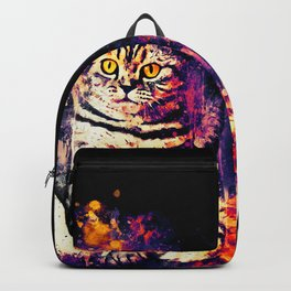 cat sitting like human ws fn Backpack