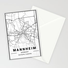 Mannheim Light City Map Stationery Cards