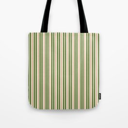 Retro Christmas Stripes - Vertical Holiday Stripe Pattern Green Red Cream  Tote Bag